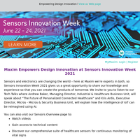 [REMINDER] Draw Some Fresh Inspiration from Maxim at Sensors Innovation Week 2021