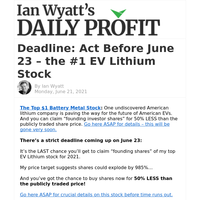 Deadline: Act Before June 23 – the #1 EV Lithium Stock