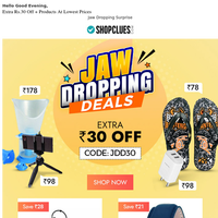 T-shirt @ ₹79 & Flip Flops @ ₹69 & More