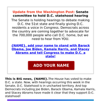 {NAME}, need you on this. Support D.C. statehood
