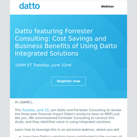 Last chance to Join Datto and Forrester Consulting for an exclusive webinar