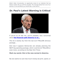 Dr. Ron Paul goes on record with currency issue.