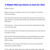5 Mighty Mid-Cap Stocks to Own for 2021