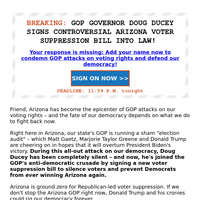 ALERT: Arizona is GROUND ZERO for voter suppression