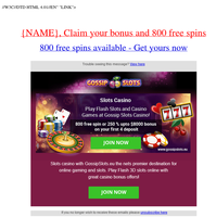 {NAME}, 800 free spins without making a deposit