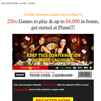 {NAME} 50% Match Bonus + 55 Free Spins. Claim yours today!