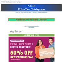 50% off with Nutrisystem + Money Back Guarantee