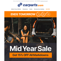 MID YEAR SALE: Enjoy 15% off ALL Markdowns on Parts & Brands