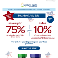 Start July with 75% PLUS 10% off Savings