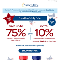 LAST DAY   Up to 75% off plus an extra 10%