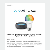 Add some color to your life with Wyze Bulb Color + Amazon Echo