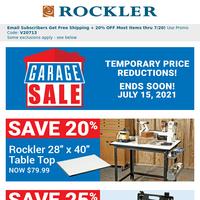 Final Day for Garage Sale Bargains, 20% Off One Item Offer Inside