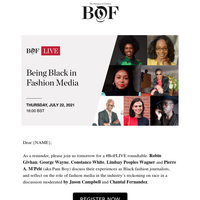 Join us tomorrow at 16:00 BST for #BoFLIVE: Being Black in Fashion Media