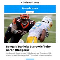 Bengals News:Bengals' Daniels: Burrow is 'baby Aaron (Rodgers)'
