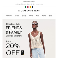 3 DAYS ONLY: EXTRA 20% OFF your purchase