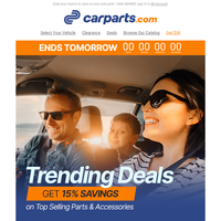 TRENDING: 15% OFF Deals on Top Selling Vehicle Parts