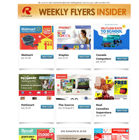 Back to School Flyers from Staples and Canada Computers, Team Canada Deals at Hudson's Bay, PetSmart's Summer of Savings Event + New Grocery Flyers from Bulk Barn, Real Canadian Superstore, Rexall, Shoppers Drug Mart, Walmart & More