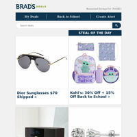 $70 Dior Sunglasses   30% Off Back to School   $36 Quilt Sets   $30 Outdoor Rugs   $65 Shark VacMop