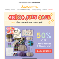 Today only: 50% off Bluprint kits & Craftsy needles!