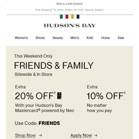 Friends & Family: Get EXTRA 20% Off