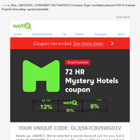 Oooh, a 72HR MYSTERY coupon! Save on your stay
