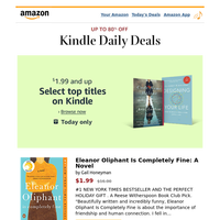 Today only: Select top titles for $1.99 and up on Kindle