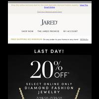 Last Day to save 20%* on select Diamond Fashion Jewelry