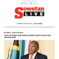 Fear of major job losses twists Cyril's arm over alcohol ban   SA students struggle without stipends in Cuba