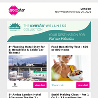 4* London Hotel Stay & Breakfast for 2  | Food Reactivity Test £19 | 5* Sparkling Afternoon Tea for 2 £29 | Sushi Making Class £19 | 2ml Dermal Filler £189