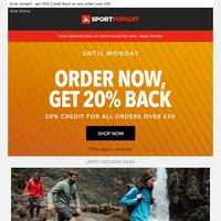 Last Chance - Get 20% Back + Craghoppers   Sutsu T-Shirts   Phoenix Fitness Gym Equipment   HUUB Triathlon & Swim   OnGuard Cycle Security