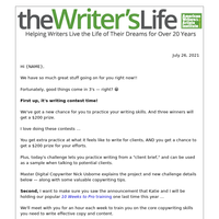 New writing contest! 3 winners will get paid