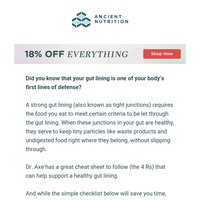 Dr. Axe's 4 Rs for a healthy gut barrier