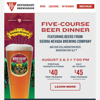 Save Your Seat For $40! Beer Dinners Are Next Week!