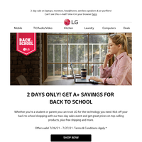 2-Day Back to School Sale starts now!