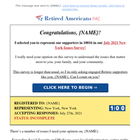Congrats {NAME}! I selected you for our New York Issues Survey