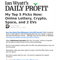 My Top 5 Picks Now: Online Lottery, Crypto, Space, and 2 EVs