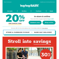 Sale notification: Open this email for an offer on essentials for baby + 20% off coupon inside.