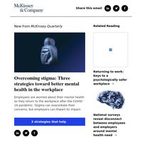 Overcoming stigma: Three strategies toward better mental health in the workplace