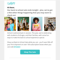 Hey! Time's running out on our back to school event