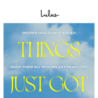 JUST ADDED: Deeper Discounts!