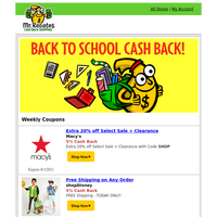 Extra Cash Back at 450+ Stores for Back to School Shopping! 👕