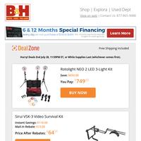 Today's Deals: Rotolight NEO 2 3-Light Kit, Sirui Video Survival Kit, Fimi X8 Mini Foldable Drone, IDX System Technology V-Mount Batteries/Charger Kit & More