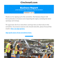Business Report:The latest business and restaurant news in Greater Cincinnati