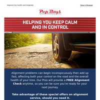 Your wheel alignment offer is inside