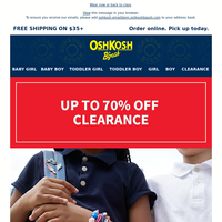 Don't miss up to 70% off CLEARANCE!