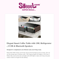 Get Elegant Smart Coffee Table with 130L Refrigerator , 2 USB & Bluetooth Speakers For Only KD189.9