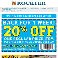 Woodworking Around the House Sale, Garage Sale and 20% Off Coupon End Today!