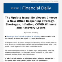 The Update Issue: Employers Choose a New Office Reopening Strategy, Shortages, Inflation, COVID Winners and Recovery Losers