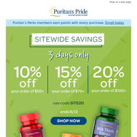 SITEWIDE — Up to 20% off starts now