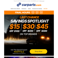 (EXPIRES TODAY) Up to $45 Savings on Vehicle Parts